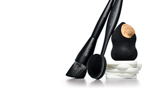 Collection of Mary Kay Foundation brushes and sponges.