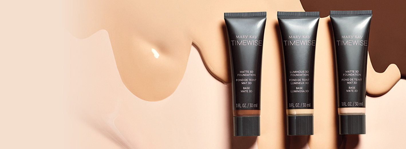 Mary Kay TimeWise 3D Foundation product tube and swatches in ivory, beige and bronze skin tones.